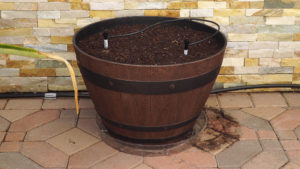 Resin Wine Barrel Planter