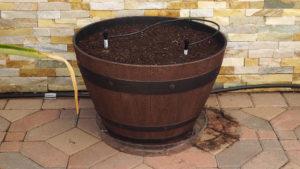 Resin Wine Barrel Planter